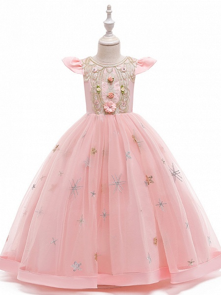 A-Line Ankle Length Wedding / Party / Pageant Flower Girl Dresses - Tulle / Matte Satin / Poly&Cotton Blend Short Sleeve Jewel Neck With Pattern / Print / Solid_7