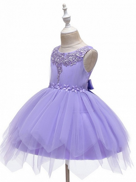 Princess / Ball Gown Short / Mini Wedding / Party Flower Girl Dresses - Tulle Sleeveless Jewel Neck With Sash / Ribbon / Appliques_4