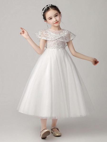 Princess Ankle Length Party / Pageant Flower Girl Dresses - Polyester Short Sleeve Jewel Neck With Lace_4