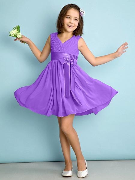 A-Line V Neck Knee Length Chiffon Junior Bridesmaid Dress With Bow(S) / Criss Cross / Natural_29