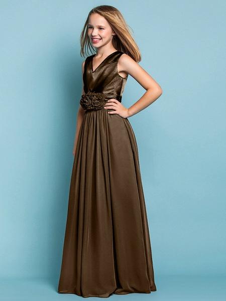 Sheath / Column V Neck Floor Length Chiffon Junior Bridesmaid Dress With Flower / Spring / Summer / Fall / Apple / Hourglass_27