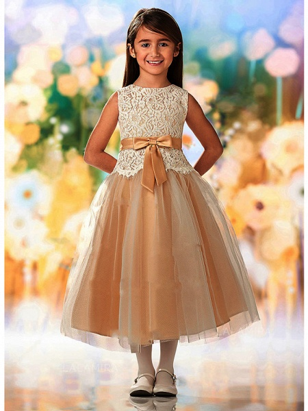 A-Line Ankle Length Wedding / Party Flower Girl Dresses - Lace / Tulle Sleeveless Jewel Neck With Sash / Ribbon / Appliques_1