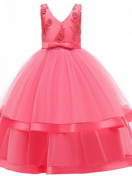Princess / Ball Gown Floor Length Wedding / Party Flower Girl Dresses - Tulle Sleeveless V Neck With Sash / Ribbon / Bow(S) / Tier_5