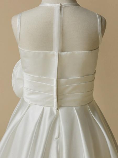 A-Line Tea Length Wedding / First Communion Flower Girl Dresses - Taffeta Sleeveless Jewel Neck With Flower_5