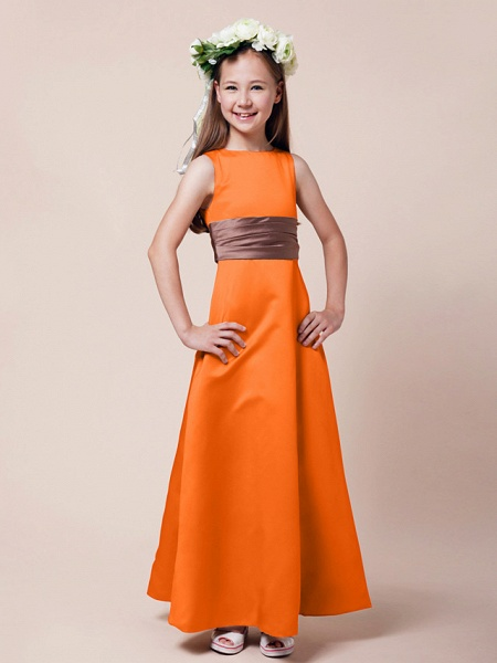 Princess / A-Line Bateau Neck Floor Length Satin Junior Bridesmaid Dress With Sash / Ribbon / Ruched / Spring / Summer / Fall / Winter / Apple_13