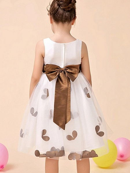 A-Line Tea Length Event / Party / Birthday Flower Girl Dresses - Poly Sleeveless Jewel Neck With Flower_4