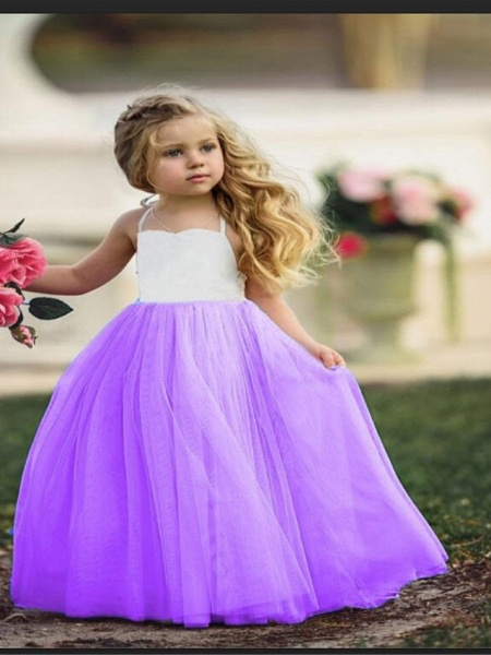 Ball Gown Floor Length Wedding / Party Flower Girl Dresses - Tulle Sleeveless Jewel Neck With Color Block_3