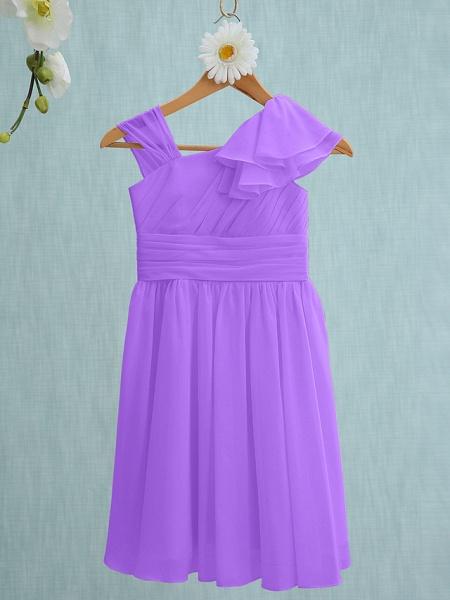 Sheath / Column Straps Knee Length Chiffon Junior Bridesmaid Dress With Ruffles / Side Draping / Natural_29