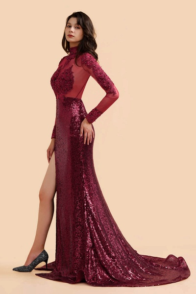 Burgundy Modern High Neck Sexy Split Open back Prom Dress_4