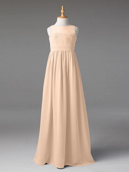 Princess / A-Line Jewel Neck Floor Length Chiffon Junior Bridesmaid Dress With Sash / Ribbon / Pleats_13