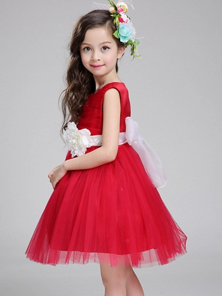 Princess Knee Length Pageant Flower Girl Dresses - Polyester Sleeveless Jewel Neck With Bandage / Color Block_2