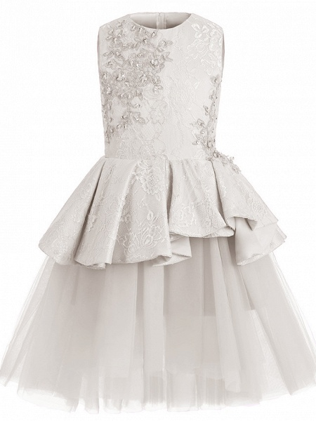 A-Line Knee Length Wedding / Birthday / Pageant Flower Girl Dresses - Tulle / Cotton Sleeveless Jewel Neck With Lace / Beading / Paillette_7