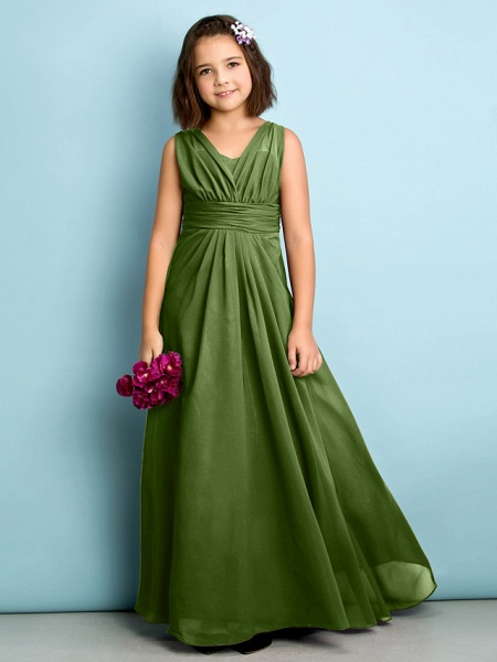 A-Line V Neck Floor Length Chiffon Junior Bridesmaid Dress With Criss Cross / Natural / Mini Me_39
