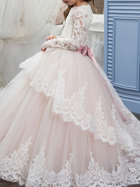 Ball Gown Floor Length Pageant Flower Girl Dresses - Polyester Long Sleeve Jewel Neck With Lace / Tier_3