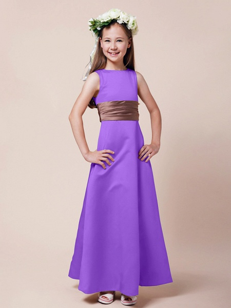 Princess / A-Line Bateau Neck Floor Length Satin Junior Bridesmaid Dress With Sash / Ribbon / Ruched / Spring / Summer / Fall / Winter / Apple_27