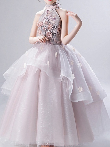 Ball Gown Ankle Length Pageant Flower Girl Dresses - Polyester Sleeveless High Neck With Ruffles / Appliques_2