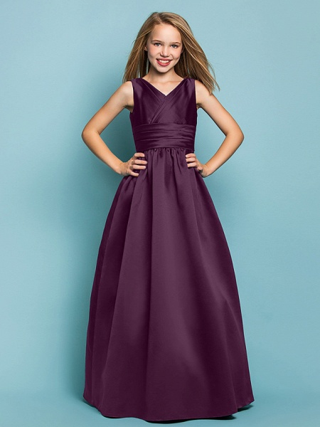Princess / A-Line V Neck Floor Length Satin Junior Bridesmaid Dress With Sash / Ribbon / Criss Cross / Spring / Summer / Fall / Apple / Hourglass_16