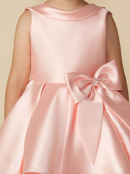 Princess Above Knee Wedding / First Communion Satin Sleeveless Jewel Neck With Bows_9