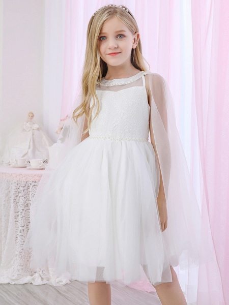 Princess / Two Piece / Ball Gown Medium Length Wedding / Event / Party Flower Girl Dresses - Lace / Satin / Tulle Sleeveless Jewel Neck With Pearls / Beading / Solid_2