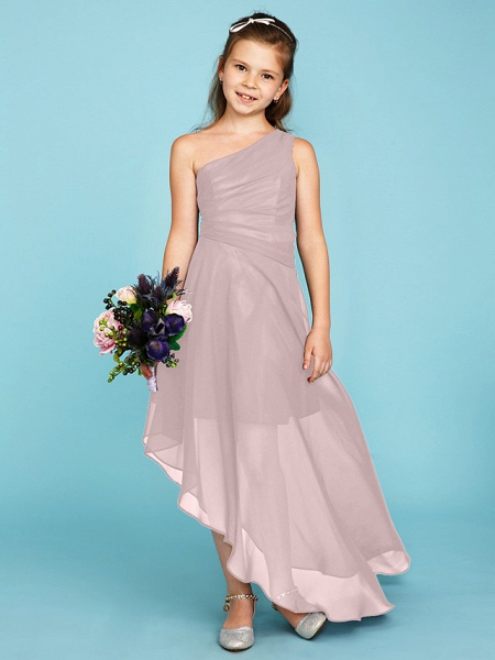 A-Line One Shoulder Asymmetrical Chiffon Junior Bridesmaid Dress With Side Draping / Wedding Party_18