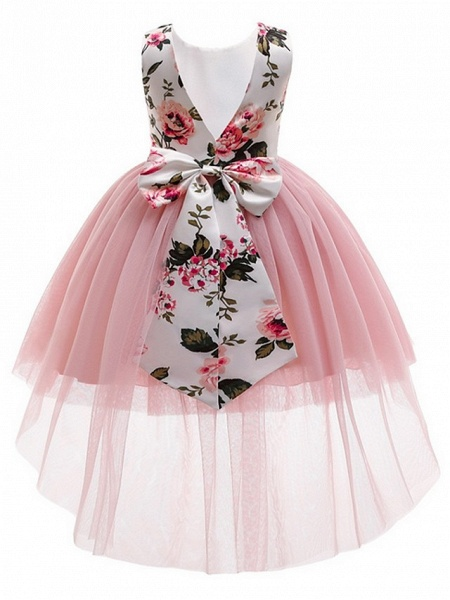 Princess / Ball Gown Asymmetrical Wedding / Party Flower Girl Dresses - Tulle / Mikado Sleeveless Jewel Neck With Bow(S) / Pattern / Print_3