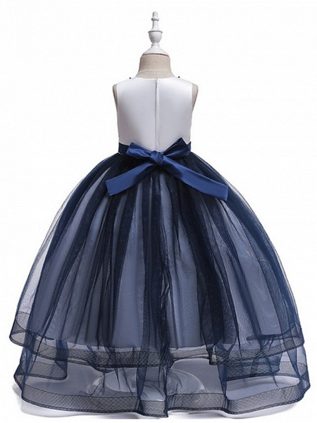 Princess Round Floor Length Cotton Junior Bridesmaid Dress With Bow(S) / Embroidery_6