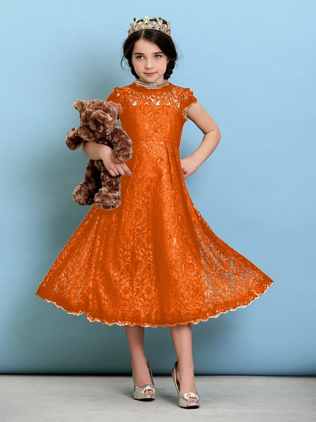 Princess / A-Line Jewel Neck Tea Length Lace Junior Bridesmaid Dress With Pleats / Natural_17