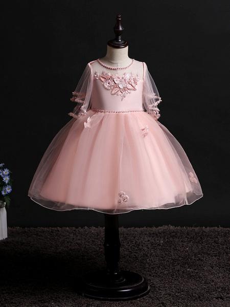 Princess Midi Wedding / Birthday Satin / Tulle Sleeveless Jewel Neck With Bow(S) / Pearls / Beading_5