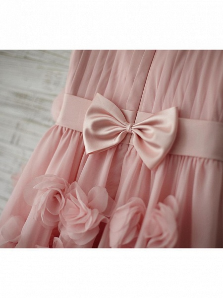 A-Line Knee Length Holiday Flower Girl Dresses - Chiffon Sleeveless Straps With Sash / Ribbon / Bow(S) / Draping_7