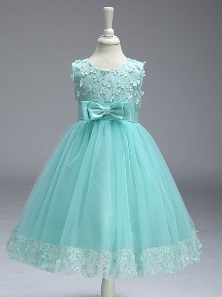 Ball Gown Knee Length Wedding / Party Flower Girl Dresses - Tulle Sleeveless Jewel Neck With Bow(S)_4