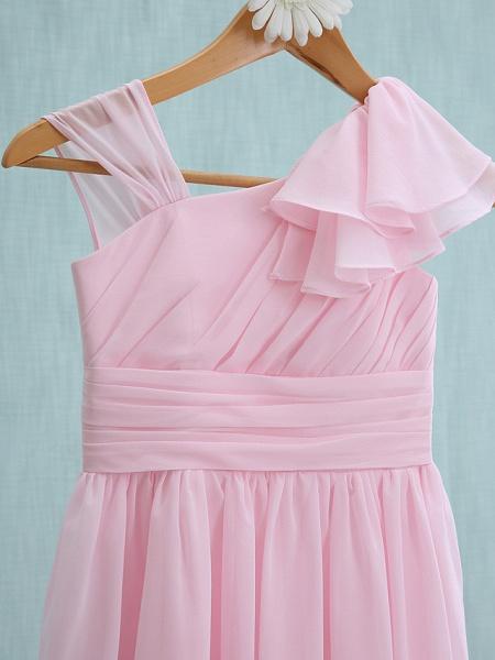 Sheath / Column Straps Knee Length Chiffon Junior Bridesmaid Dress With Ruffles / Side Draping / Natural_3