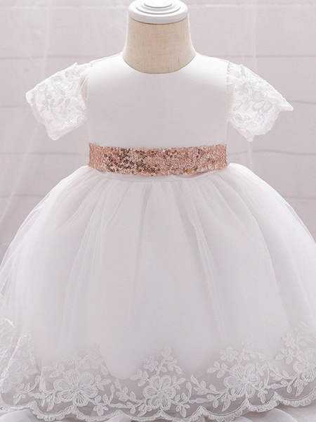 Ball Gown Floor Length Wedding / Party Christening Gowns - Lace / Satin / Tulle Sleeveless Jewel Neck With Bow(S) / Paillette_1