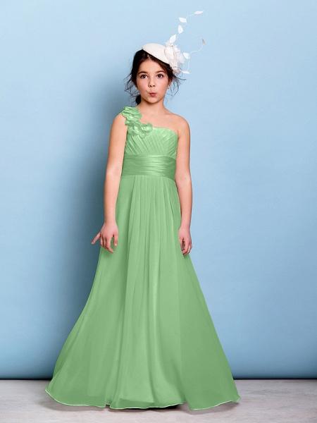 A-Line One Shoulder Floor Length Chiffon Junior Bridesmaid Dress With Sash / Ribbon / Criss Cross / Ruched / Natural_28