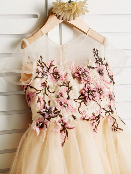 Princess Knee Length Wedding / Birthday / Pageant Flower Girl Dresses - Satin / Tulle Cap Sleeve Jewel Neck With Embroidery_4