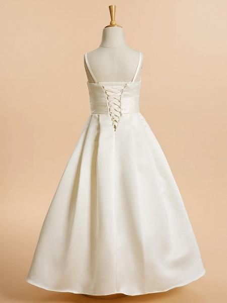 A-Line Floor Length Wedding / First Communion Flower Girl Dresses - Satin Sleeveless Spaghetti Strap With Sash / Ribbon_3