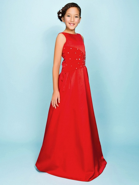 Princess / A-Line Bateau Neck Floor Length Satin Junior Bridesmaid Dress With Criss Cross / Beading / Draping / Spring / Summer / Fall / Apple / Hourglass_2