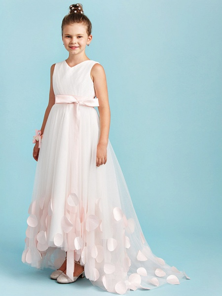 Princess / A-Line V Neck Sweep / Brush Train Satin / Tulle Junior Bridesmaid Dress With Sashes / Ribbons / Bow(S) / Wedding Party_3
