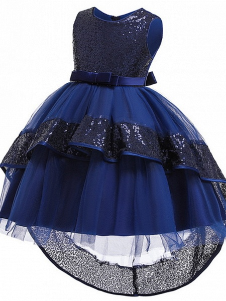 Ball Gown Ankle Length Pageant Flower Girl Dresses - Polyester Sleeveless Jewel Neck With Bow(S) / Appliques_8