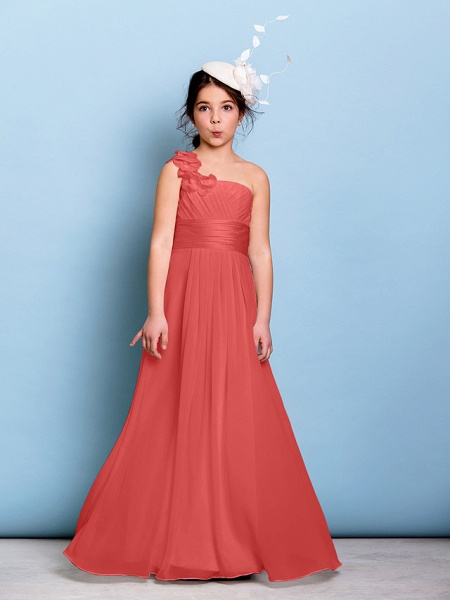 A-Line One Shoulder Floor Length Chiffon Junior Bridesmaid Dress With Sash / Ribbon / Criss Cross / Ruched / Natural_12