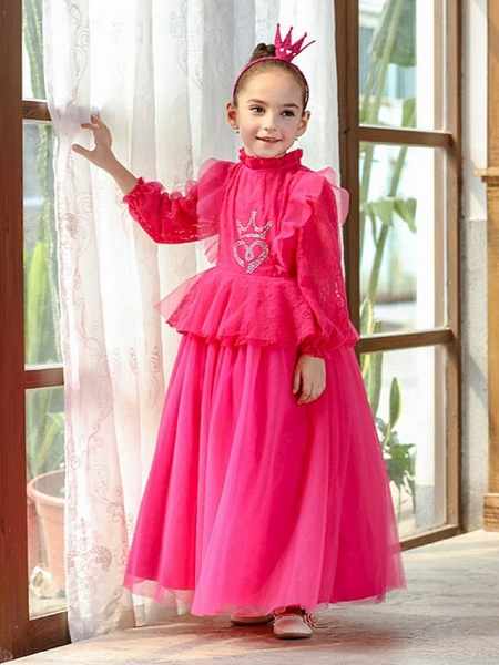 Princess / Ball Gown Ankle Length Wedding / Party Flower Girl Dresses - Lace / Tulle Long Sleeve High Neck With Pleats / Beading_3