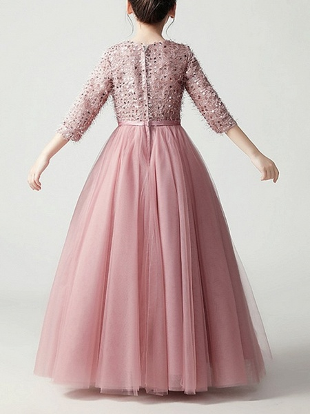 Ball Gown Floor Length Pageant Flower Girl Dresses - Tulle 3/4 Length Sleeve Jewel Neck With Feathers / Fur / Bow(S) / Paillette_6