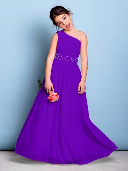 A-Line One Shoulder Floor Length Chiffon Junior Bridesmaid Dress With Sash / Ribbon / Beading / Side Draping / Natural_37