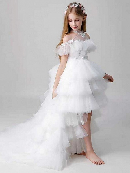 Sheath / Column Sweep / Brush Train Party / Birthday Flower Girl Dresses - Poly Sleeveless Off Shoulder With Lace / Tier_3