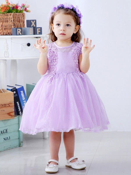 Ball Gown Medium Length Wedding / Party Flower Girl Dresses - Lace / Satin / Tulle Short Sleeve / Sleeveless Jewel Neck With Lace / Bow(S) / Appliques_1