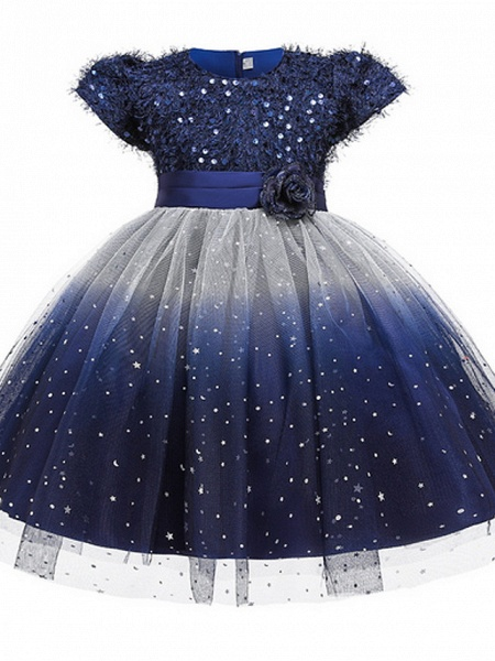 Ball Gown Ankle Length Pageant Flower Girl Dresses - Polyester Short Sleeve Jewel Neck With Beading / Appliques_4