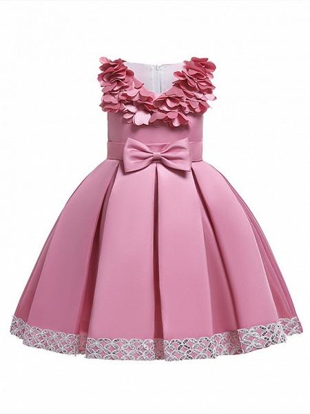 Princess Knee Length Wedding / Party / Pageant Flower Girl Dresses - Satin / Cotton Sleeveless Jewel Neck With Petal / Belt / Bow(S)_3