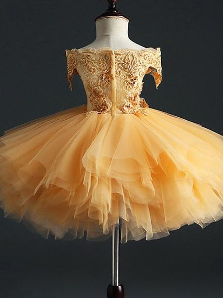 Princess Short Length Pageant Flower Girl Dresses - Polyester Short Sleeve Off Shoulder With Appliques_3