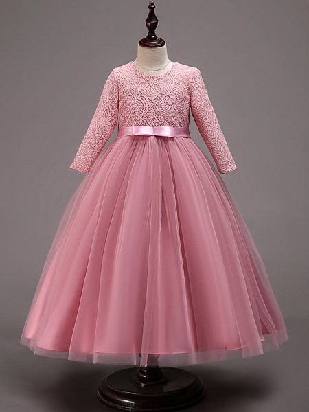Princess Floor Length Wedding / Party / Pageant Flower Girl Dresses - Lace / Tulle / Cotton Half Sleeve Jewel Neck With Lace / Belt_4