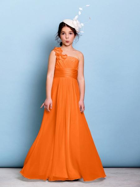 A-Line One Shoulder Floor Length Chiffon Junior Bridesmaid Dress With Sash / Ribbon / Criss Cross / Ruched / Natural_15
