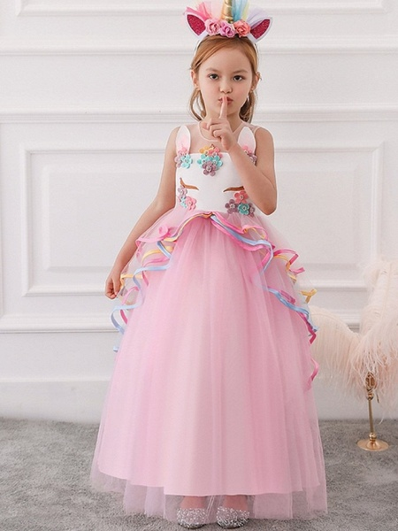 Princess / Ball Gown Floor Length Wedding / Party Flower Girl Dresses - Tulle Sleeveless Illusion Neck With Appliques / Cascading Ruffles_1